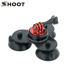 Removable Low Angle Secure Tripod 3 Vacuum Car Camera Suction Cup Mount Base with CNC Screw for GoPro Hero 4 3+ 3 2 Xiaoyi SJCM