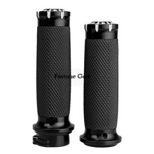 "CNC Aluminum Handlebar Grips Handle Bar Grips 1""25mm For Harley Softail Sportster Touring Dyna Custom"