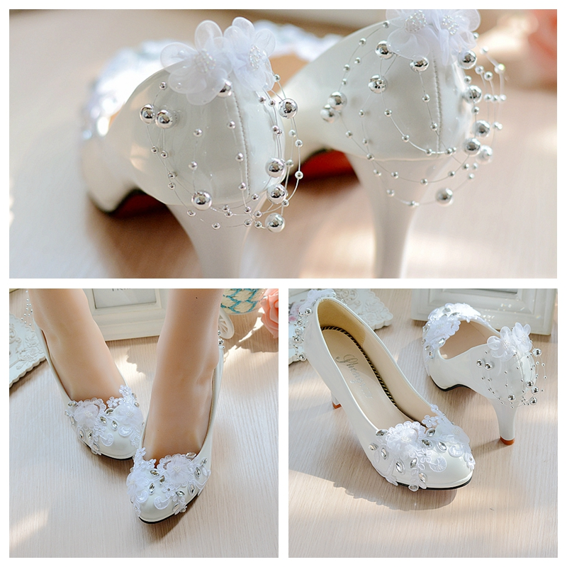 White Wedding Shoes Spring and summer Bride Shoes High -heeled beaded Lace Women Pumps Rhinestone Large Size 35-42  Party<br><br>Aliexpress