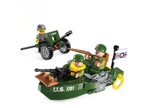WWII Allied Assault boat Chase German Scout Army Battle Model Building Blocks Toys for Children Compatible With lepin Brick
