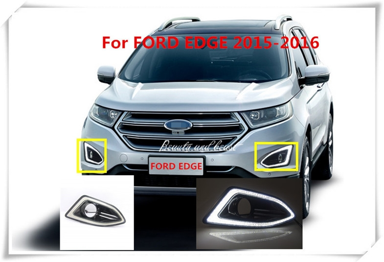 High quality 2PCS white car styling LED Daytime Running Lights waterproof DRL Front Fog Lamp Covers For Ford Edge 2015 2016<br><br>Aliexpress
