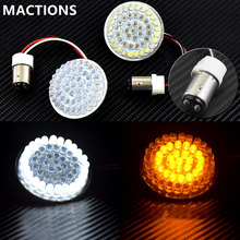 "Motorcycle Light 2"" Bullet Style 1157 LED Inserts Turn Signal Panel For Harley Sportster Softail Touring Dyna 2012 2013-2017(China)"