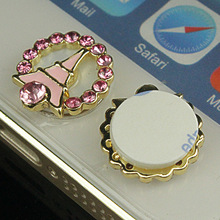 For iPhone Eiffel Tower button stickers mobile phone jewelry to paste the phone Home Button stickers(China)