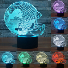 USB table desk Lamp NFL Team Logo 3D Light LED Detroit Lions Football Cap Helmet 7 color changing touch switch light IY803662(China)