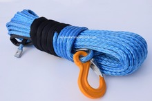 Free Shipping 10mm*26m Blue Synthetic Winch Cable,Rope for Electric Winches,Off Road Rope,Plasma Winch Cable(China)
