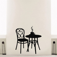 Coffee Shop Vinyl Wall Decal Coffee Tea Cafe Restaurant Wall Decoration Table Chair Mural Art Wall Sticker(China)