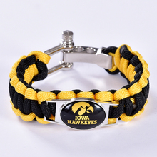 Iowa Hawkeyes Custom Paracord Bracelet NCAA College Football Charm Bracelet Survival Bracelet, Drop Shipping! 6Pcs/lot!