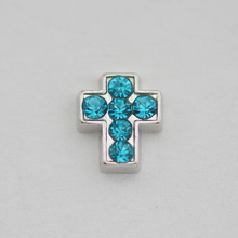 Free shipping floating charms silver cross with light blue crystal for glass locket 30mm(China)