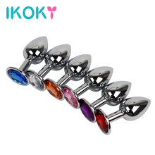 Buy IKOKY 6 Colors Metal Anal Sex Toys Women Men Anal Butt Plugs Crystal Jewelry Booty Beads Anal Tube Sex Products Erotic