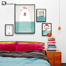 Nordic Art Polar Bear Hippo Canvas Poster Minimalist Painting Cartoon Modern Nursery Picture Home Children Room Decoration(China)