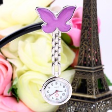 1Pcs Pocket Watch Purple Cute Portable Butterfly Nurse Clip-on Quartz Hanging Pocket Watch relogio de bolso 2017 New Arrivals