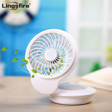 Portable Mini USB Fan Desk Fan Table Personal Cooling Fan 360 Degree Rotation with 7 Colors LED Lights Changing Mood Lamp(China)