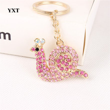 New Design Pink Snail Cute Crystal Charm Pendant Purse Handbag Car Key Keyring Keychain Party Wedding Gift Accessories