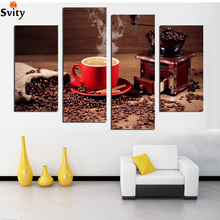Coffee Decorative Pictures Coffee Beans Wall Canvas Pictures For Home Decor Cuadros Decoracion Infantiles Poster Retro F18892(China)
