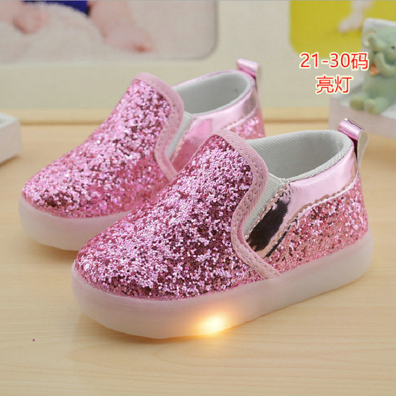 2016 New Autumn Sequin Kids LED light Sneakers Brand Child PU Leather Colorful Flashing girls Casual Shoes boys size 21~30
