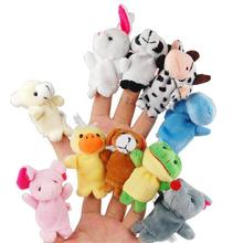 2017 10PCS Farm Zoo Animal Finger Puppets Toys Boys Girls Babys Party Bag Filler NEW Kawaii Kids Stuffed Toys For Children Dolls