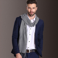2016 new fashion houndstooth double long cotton men winter scarf Warm cashmere scarf Shawl for male
