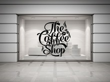 Coffee Shop Decal Vinyl Wall Decal Coffee Lettering Wall Decoration Coffee Shop Logo Mural Art  Shop Window Glass Wall Sticker