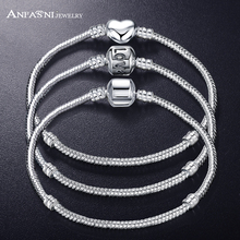 ANFASNI New Fashion Love Snake Chain Silver Color Fit Original Charm Bracelet Bangle Charm Bead For Women Gift 17CM-21CM(China)