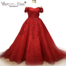 Bling Bling Red Evening Dresses Long Sweetheart Applique Beaded Floor Length Saudi Arabic Evening Gowns Women Formal Dresses(China)