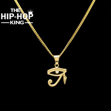 Buy 2017 Stainless Steel Eye Horus Charming Pendant Necklace Gold Color Ancient Egyptian Necklace Jewelry Cuban Chain for $7.10 in AliExpress store