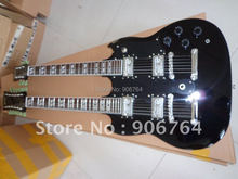 brand new double neck SG guitars black electric guitar free shipping double neck guitar black color  rosewood fretboard