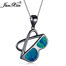 JUNXIN New Personality Design Black Gold Filled Sunglasses Pendants Ocean Blue/White Fire Opal Necklace For Women Party Gifts(China)