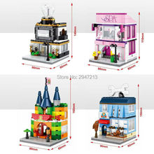 4 set hot sembo block compatible lepin city mini street view Building blocks Jewelry diamond Jewel Pet SPA shop brick Toys gift