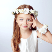 2Pcs/Set Wedding Bride Party Girls Lace Flowers Floral Crown Garland Headband & Hand Flower Wreath Sets For Women Lady