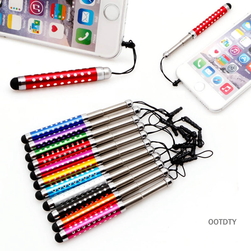OOTDTY Three Links Retractable Capacitive Stylus Touch Screen Teblet Pen Diamond For iPhone iPad Tablet PC Mobile phone