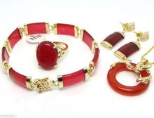 FREE shipping>>>>>Charming Red Natural stone Dragon Pendant Necklace Ring Bracelet Earring Gift Sets