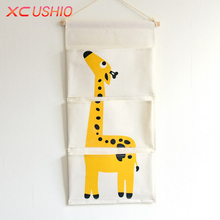Cartoon Animal Wall Door Hanging Bag Multilayer Linen Storage Bag Creative Home Organizer Pouch for Toys Books Cosmetic Sundries