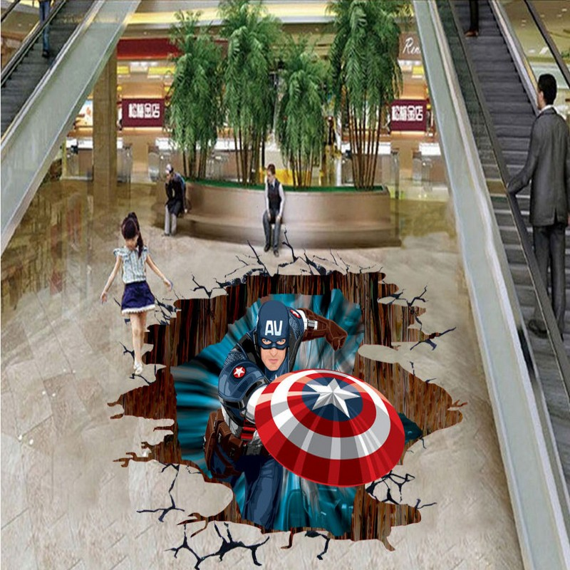Free Shipping custom floor photo 3D self-adhesive thicken Captain America cartoon floor wallpaper mural<br><br>Aliexpress