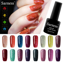 Sarness Sexy Soak Off Nail Glitter Sequin Nails Gel Polish Nail Art Professional Long Lasting Primer Cheap Neon UV Gel Varnish(China)