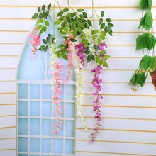 Home Party Wedding Decoration Silk Flower Garland Artificial Wisteria Hanging Flower Romantic Artificial Wisteria 3 Colors