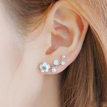 New Fashion Crystal Earrings Pearl Women Branch Shell Pearl Flower Stud Earrings Female