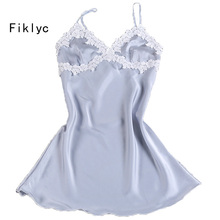 Fiklyc brand female sexy women's flower sleepwear young girls lace satin nightgowns mini lingerie nightdress pijamas home wear(China)