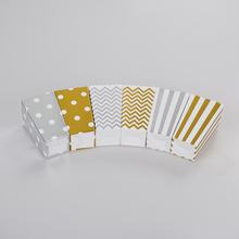 12pcs Gold/Silver stiff paper Party Popcorn Boxes Pop Corn Candy/Sanck Favor Bags Wedding Birthday Movie Party Tableware