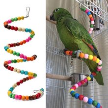 100CM Rainbow Beads Birds Toys Hamster Parrot Toys Stairs Parakeet Swing Exercise Wooden Bird Ladder(China)