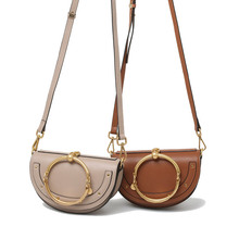 2017 Special Offer Real Summer Small Mobile Phone Bag Metal Ring Half Moon Handbag Shoulder Corssbody Mini Cloe Genuine Leather