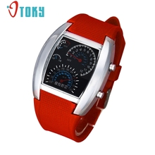 OTOKY Fashion Aviation Turbo Dial Flash LED Watch Mens Women Sports Car Meter 2017 #23 gift 1pcs