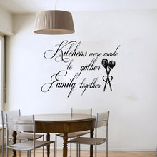 Kitchen Were Made To Gather Family Together Art Words Wall Decals Vinyl Waterproof Kitchen Wall Tile Sticker(China)