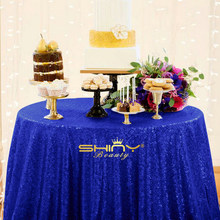 ShinyBeauty Polyester/Sequin 132 Round 11ft Royal Blue Table Cloth Fabric/ tablecloth for Hotel Party Wedding Tablecloth Dining