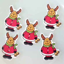 New/ 40mm*32mm- Christmas elk wood decorative children's gift/clip thin diy wooden button 100pcs/lot-M124-AA*10(China)