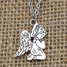 Fashion Cute Antique Silver Kids Angel Wing Pray Fairy Pendant Choker Collar Necklace Lucky Jewelry for Women Girl Daughter gift