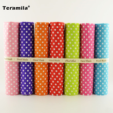 7 PCS Mixed 100% Plain Cotton Fabric Fat Quarters Bundle Tildas for Quilting Meter Fabric Square Sewing Patchwork Dots Design(China)