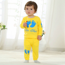 2016 Baby Boys Clothes Children's Outfit Baby Girls Kid Clothes Yellow Paw Characters Clothing Set for New Born Baby Toddlers