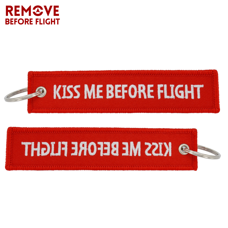 Kiss Me Before Flight Key Chain Label Red Embroidery Key Ring Special Luggage Tag Chain for Aviation Gifts Car Keychain Jewelry (12)