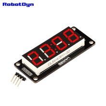 "4-Digit LED 0.56"" Display Tube (clock, colon), 7-segments RED, TM1637, disp. size 50x19mm(China)"