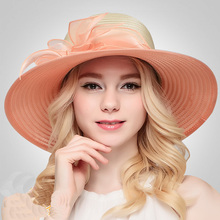 Queen Hat Organza Rhinestone Hats Orange Retro Lady Summer Sunshade Sun Cap